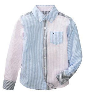 Boys Long Sleeve Patchwork Woven Shirt - Size 6